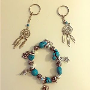 2 dream catchers key chain and a bracelet